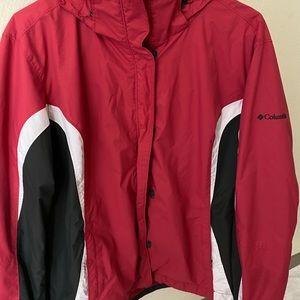 """Red """"Columbia"""" zip up jacket w/ hood"""